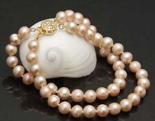 "Charming 2 rows 8-9mm pink south sea pearl bracelet 7.5""-8"" 18K GP"