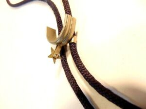 woven string bolo tie with white metal spur slide