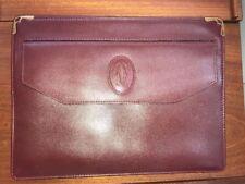 Cartier Logos Must Line Clutch Bag Bordeaux Leather Vintage Authentic