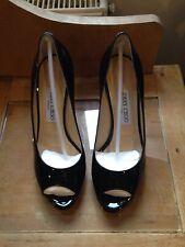 Jimmy Choo Black Patent Leather Peep Toe Heels. Size 4.5/5