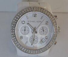 Michael Kors MK-5188 Runway Chronograph Crystal White Ceramic Case & Band Watch