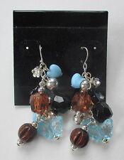 cc silver tone turquoise brown bead Earrings claire's jewelry mary kate ashley