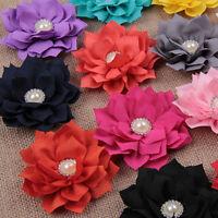 DIY 10/50Pcs Chiffon Fabric Flower Pearls bling Rhinestone Embellishment Craft