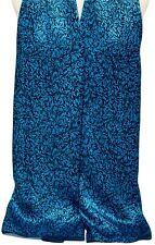 100% Silk Scarf Shawl Wrap made w Liberty Of London Silk Satin Turquoise & Black