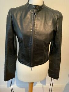 Pinko Black Leather Stretch Ribbed Waist Tie Short Zipped Biker Jacket 44 12