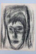 Kopf einer jungen Frau , Kohlezeichnung - Nachlass F.Brenner, Stuttgart