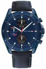 Tommy Hilfiger Parker   Correa De Cuero Azul Para 1791839 Relojes
