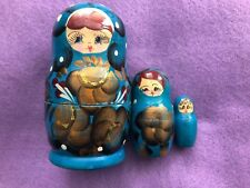 Set of 3 Floral Blue and Black Wooden Matryoshka Russian Nesting Dolls 4 Inches