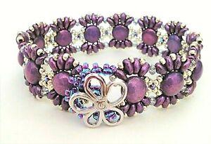 Handmade Silver Purple Flower Button Bracelet