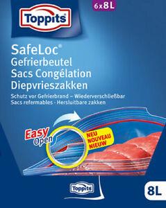 Toppits Safeloc Gefrierbeutel XXL Beutel Beutel Easy Opening (6 x 8 L) neu