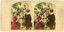 """Stereo, Angleterre, """"Children blowing Bubbles"""" Vintage stereo card -  Tirage a"""