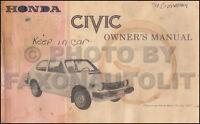 1978 Honda Civic 1200 Owners Manual Original OEM Owner Guide Book