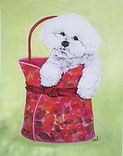"BICHON FRISE DOG FINE ART PRINT - ""Bichon Carry-On"""