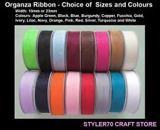 Organza Sheer Ribbon 7mm Width 25 Metre Reel 16 Colours to Choose From