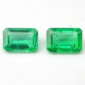 0.95 Karat Passende Paar Poliert Grün Beryll Smaragd