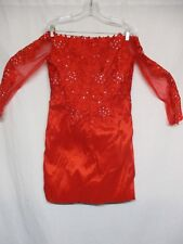 Women's Red Long Sleeve Formal Rhinestones Short Evening Prom Dress         p8