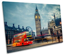 London Red Bus Big Ben Picture SINGLE CANVAS WALL ART Print