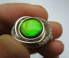 Rare Sterling Silver Bright Opal Like Ammolite & Zircon Knot Ring UK Size P
