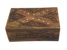 Wood Jewellery /Trinket Storage Box with Hand-Carved Lid & Secret Slid Lock Gift