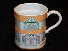 "1992 LENOX VILLAGE Coffee Mug Series ""Cafe"" Porcelain White Orange 10 oz"