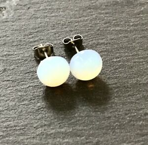 White Opalite Cabachon Ear Studs Earrings Natural Stone 316L Surgical Steel Post