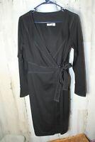CATO 10 Black Long Sleeve Knee Length Women's Wrap Dress
