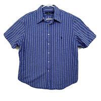 Polo Ralph Lauren Short Sleeve Plaid Seersucker Button Down Shirt Mens Sz L Blue