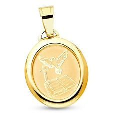 Holy Spirit Dove Cross Bible Pendant Solid 14k Yellow Gold Charm Religious Style
