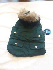 Warm Fleece Lined Dog Coat with Fur Hood