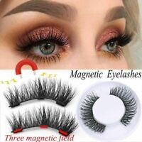 New 4PCS 3D Magnetic Eyelashes Reusable Triple Magnet False Eye Lashes Makeup