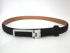 BRIGHTON Belt Black Pony Hair on Leather Silver Buckle Fashion Womens 30/M $69