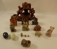 Vintage Chinese Hand Carved Soapstone Floral Birds Monkeys Dog Vase Urn 00351010