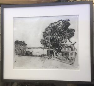SIGNED 1929 HYDE STREET, San Francisco Bay, Marin ETCHING by Lawrence N. Scammon