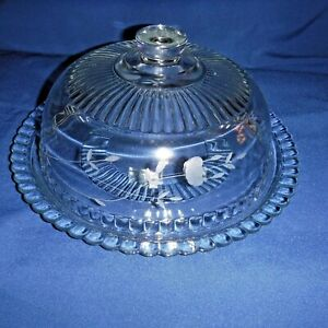 PRINCESS HOUSE HERITAGE 2 PIECE CRYSTAL PIE PLATE WITH DOME LID #077