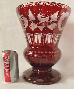 """HUGE EGERMANN RUBY RED CUT-TO-CLEAR 11"""" VASE, STAG & CASTLE, DEER, BOHEMIA"""