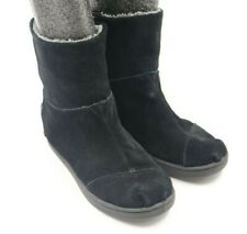Toms Girls Youth Black Suede Ankle Boots Shoes Size 13.5M