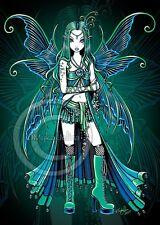 Celestial Fairy Moon Stars Gothic Teal Zoe Myka Jelina CANVAS Embellished ACEO