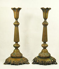 Antique Pair of Norblin Brass Shabbat Candlesticks Poland C1890