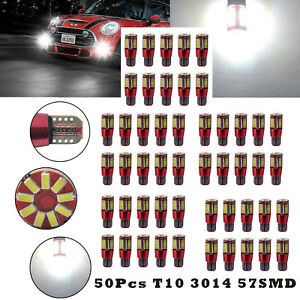 50x T10 3014 57SMD LED Canbus Error Free Car Wedge Bright Light Bulb Lamp