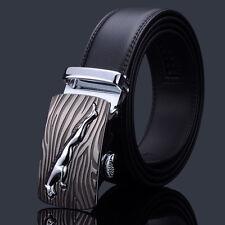 Men Automatic Buckle Belts Genuine Leather Waist Strap Business Waistband Black