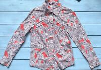 Boden Red White Brown Paisley Long Sleeve Button Up Shirt 10 R - B5