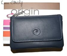 Mala Leather ORIGIN RFID coin purse Navy soft leather holds coins & cards 4110 5