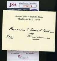 Tom Clark JSA Cert Hand Signed Supreme Court Justice Card Autograph