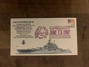 USA 1987 NAVY COVER USCS TENNESSEE BATTLESHIP CALIFORNIA BB-44 ISLETON CRAWDAD
