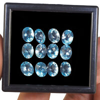 VVS 12 Pcs Natural Blue Topaz 10mm/8mm Oval Premium Gemstones Wholesale Lot