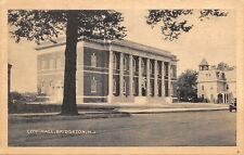 Bridgeton New Jersey~City Hall~Mansard Roof House Next Door~1941 Sepia Postcard