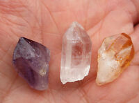 "3 x SMALL CRYSTAL POINTS "" AMETHYST "" CITRINE "" QUARTZ "" 17mm - 20mm BAG ID CARD"