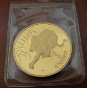 Singapore 1986 Gold 1 oz 100 Singold Tiger Original Mint Sealed UNC