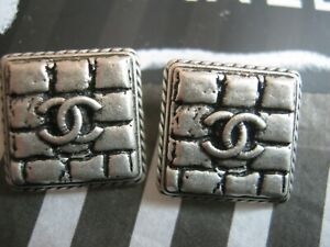 CHANEL 2 silver CC LOGO BUTTONS SQUARE 12MM X 12MM NEW BRICK STYLE LOT two