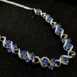 CEYLON 17.10TCW Blue Sapphire diamonds 18K white gold Necklace Pendant Natural